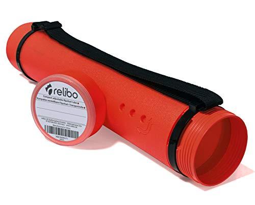 relibo Transportrolle für Flipchart-Papier - Kompakte Posterrolle für Transport und Aufbewahrung, Für DIN A1 - A3 & Flipchart-Format | mit Tragegurt und verstellbarer Länge | Rot