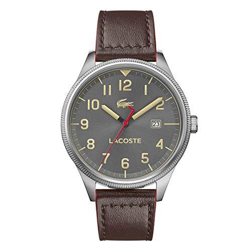 Lacoste 2019 Lacoste Continental reloj aviador de cuero resistente al agua para hombre