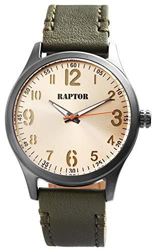 Raptor Herren-Uhr Echt Leder Armband Leuchtende rund Zeiger Analog Quarz RA20292 (olivgrün/olivgrün)
