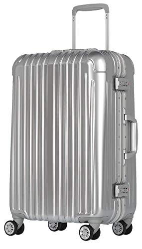 [luckypanda(ラッキーパンダ)] TY1907 スーツケース l キャリーバッグ 大型 フレーム 1年修理保証対応 TSAロック ハード キャリーバック キャリーケース Lサイズ シルバー