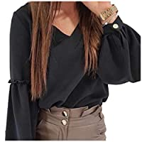 Romancly Women's V-Neck Blouse Patchwork Solid-Colored Puff Sleeve Tops Black XS