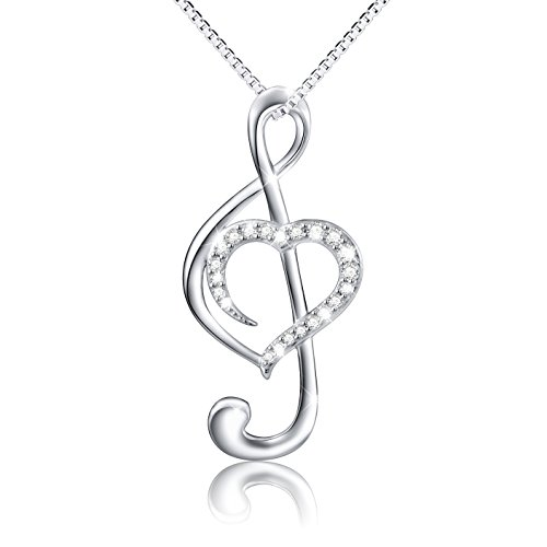 """(Musical Note Necklace Pendant) 925 Sterling Silver CZ Jewelry for Women, Box Chain 18"""""""