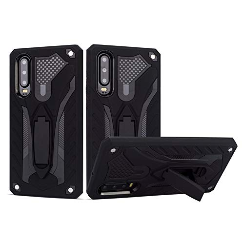 MyCase for Huawei P30 Shockproof Dual Layer 2-in-1 Armor PC+TPU Protective Hard Stand Case (Color : Black)