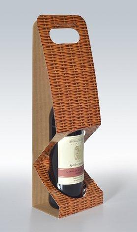 10 Stück 1er-X-Line Tragekarton Korbgeflecht, Tragetasche, Weinkarton, Flaschenkarton, Weinverpackung