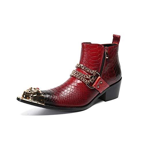 Herren Stiefeletten Cowboystiefel,Stiefelette für Männer High Top Stiefel,Cuban Heel Echtes Leder Exquisite Kette, Größe EU 39-46,Rot,EU 39/ UK 6
