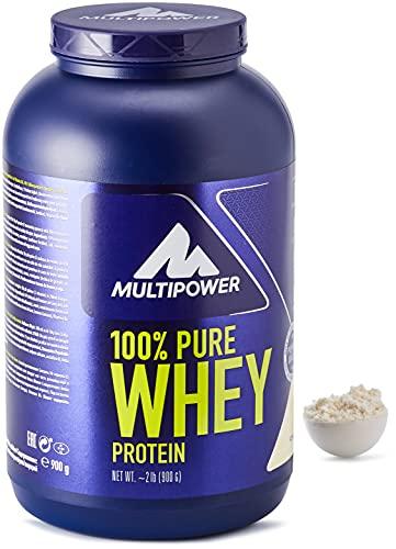 Multipower 100% Pure Whey Protein - Fino a 80% di Proteine del Siero del Latte - Proteine Isolate come Fonte Principale - 30 Porzioni - Per lo sviluppo Muscolare - 900 g - Gusto Vaniglia