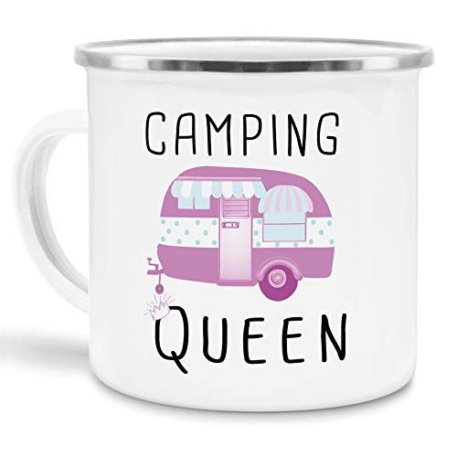Tassendruck Emaille Tasse Camping lustig - Geschenk zum Camping/Tasse für Coole Camper/Geschenk-Idee Campingfreunde - Camping Queen - groß Silber Rand