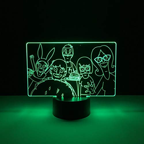 Bobs Burgers Cool 3D LED Night Light USB Table Lamp Kids birthday Gift Bedside home decoration