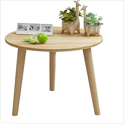 Axdwfd Table d'appoint de canapé de mode en bois massif, table de snack, petite table ronde (couleur bois) 2 tailles (taille : 60 * 48cm)