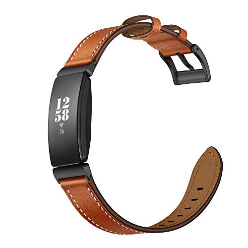 Elobeth Compatible with Fitbit Inspire Bands & Inspire HR Band Leather Inspire HR Fitness Tracker Replacement Accessories Band Women (Brown 5.5'-8.1')