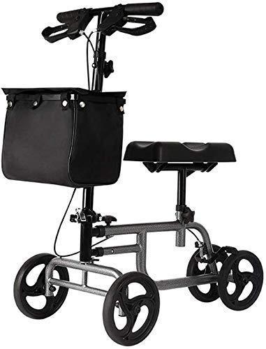 Walker Knie-Gehhilfen 4 Räder faltbar Knie-Rollator-Walker mit Doppelbremssystem Antrieb Medical Rolling Walker Höhenverstellbar Gebraucht drinnen und draußen grau