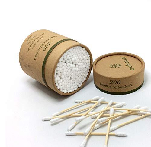 Ouboud - 200 cotons-tiges en bambou, coton blanc en forme de spirale : Efficace, solide et biodégradable