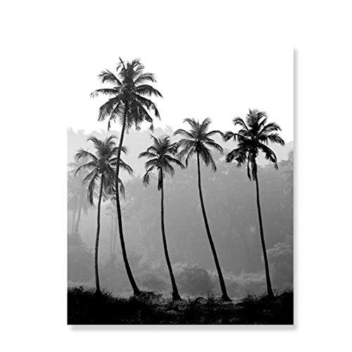 JinYiGlobal Schwarz-Weiß-Wandkunst Moderne abstrakte Palme Landschaft Leinwand Malerei Bilder Poster Druck Interior Home Decor 60x80cm (23,6