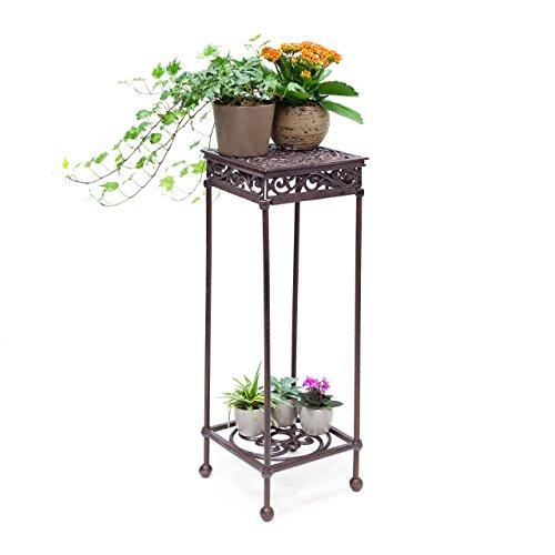 Relaxdays Bloemenkruk, vierkant, maat L, van gietijzer, HBT bloemenstandaard met 2 planken, bijzettafel voor bloemen en decoratie in huis en tuin, kruk voor planten Large bronskleurig