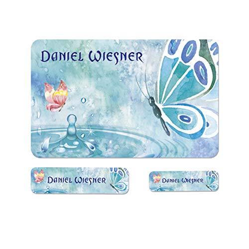 Sunnywall® Schmetterling Butterfly Namensaufkleber Stife-Aufkleber Federmappe Kinder & Erwachsene Namen Sticker Aufkleber Sticker 79 Stück Schule und Kindergarten - wasserfest