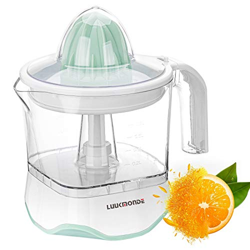 Electric Citrus Juicer with pulp control filter and dust proof cover - Orange squeezer with two size cones and Professional Motor - Electric juice extractor for Grapefruit Orange Lemon by LUUKMONDE
