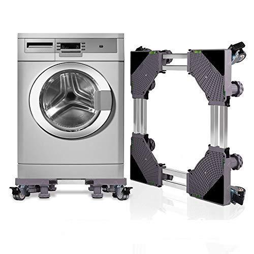 KELIXU Base regolabile mobile doppio tubo multifunzionale con 4 × 2 ruote girevoli in gomma per lavatrice, asciugatrice e frigorifero