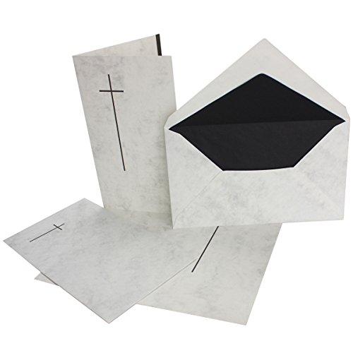 15 stück Trauerkarten-set- Doppel-Karte (11,4x19,5 cm) mit Umschlag 12x20 cm, marmoriert mit Trauer-Kreuz für Trauer-Anzeige bei Todesfall
