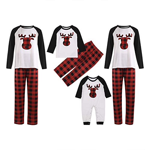 Merry Christmas Matching Family Pajamas Set Xmas Tree Reindeer PJs Plaid Pants Dad Mom Kids Baby Holiday Clothes (Deer Baby, 9-12 Months)