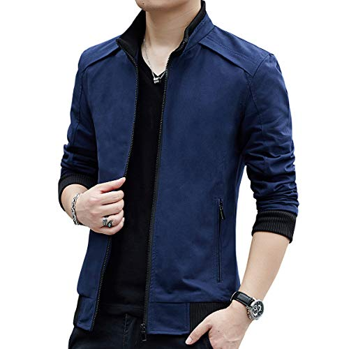 Womleys Mens Casual Windbreaker Outerwear Slim Fit Cotton Lightweight Jackets (X-Large, Blue)