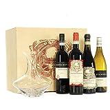 Quattro bottiglie di vini pregiati, conosciuti in tutto il mondo. Amarone della Valpolicella Classico DOCG bt. 75 cl; Lugana DOC bt. 75 cl; Valpolicella Classico DOC bt. 75 cl; Valpolicella Superiore Ripasso DOC bt. 75 cl. Decanter in vetro per la pr...