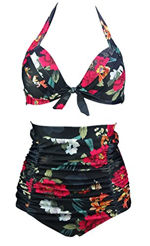 COCOSHIP Sparrow & Red Lightcyan Floral Print Halter High Waisted Two Piece Bikini Bow Front Vintage Bathing Suit XL(US10)