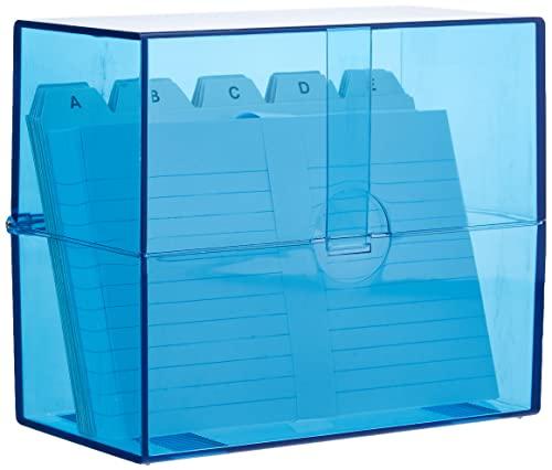 Wedo 2506303 Cajas para tarjetas (DIN A6 transversal para aproximadamente 200 tarjetas, plástico translúcido azul, incl. 100 fichas y pestañas, 15,9 x 8,3 x 13,7 cm) blanco