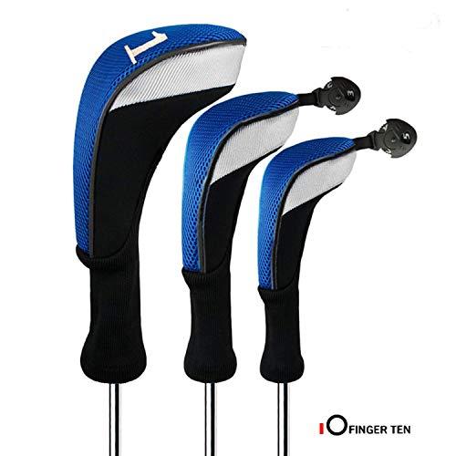 FINGER TEN Golf Headcover Schlägerhaube Holzkopfhüllen Woods Driver Fairway Hybrid 3 Pack Langer Hals 1 3 5 7 X Mit Austauschbar Nummer Etikett 460CC Für Herren Damen(Blau)