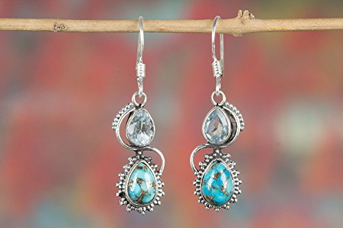 Blue Copper Turquoise & Blue Topaz Earrings | Double Stone | 925 Sterling Silver | Handcraft Jewellery
