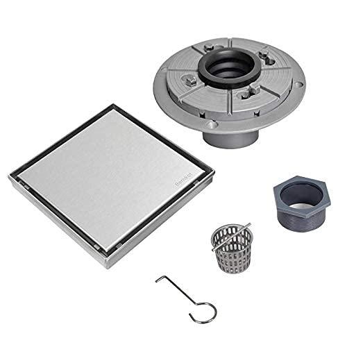 Drenaje cuadrado de ducha de acero inoxidable de níquel cepillado con rejilla de azulejos en el suelo de ducha con ducha