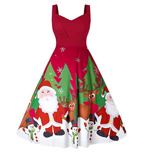 Dicomi Party Kleid Weihnachten 2020 Damen Weihnachtskleid Frauen V-Ausschnitt Weihnachten Musical...