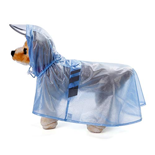 Filhome Dog Raincoat Hooded with Reflective Strip Waterproof Pet Rain Jacket Coats Poncho for Small to Large Dogs