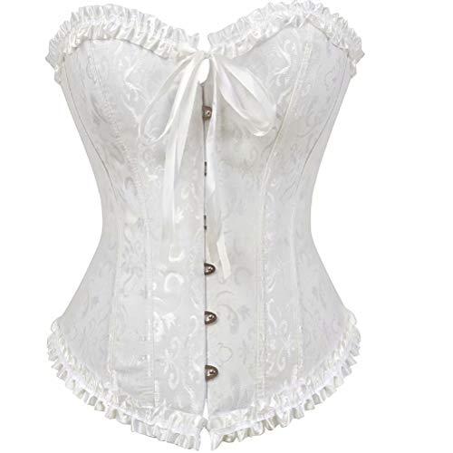Corset Sexy Mujer Disfraz gotico corsés y Bustiers Top Medieval Negro Lingerie Grande Taille Halloween Blanco 2XL