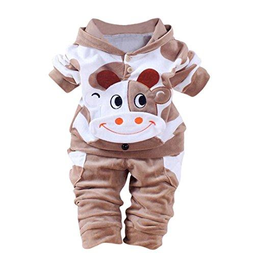 QinMM Baby Kleider 0-24 Monat, Neugeborene Baby Mädchen Jungen Cartoon Kuh Arm Outfits Samt Kapuzenoberteile Set (0-6M, Braun)