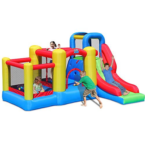 ACTION AIR Bounce House, Bounce House with Blower, Bouncy Castle with Long Slide, Double Jumping Area and 30 Pit Balls, Durable Sewn with Extra Thick Material, for Kids (9359)