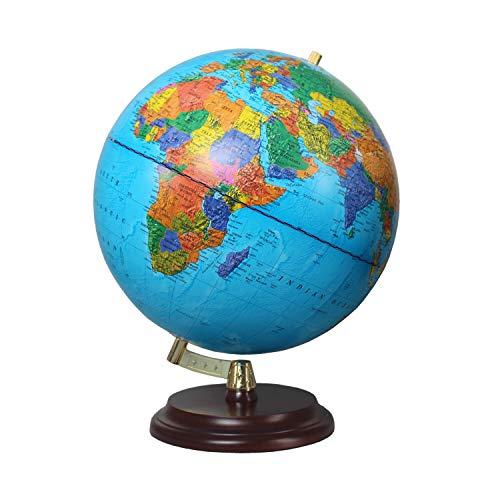 Globo Magallanes Vasa con Mapa político o Laminado a Mano, Independiente sin meridiano de 32 cm de diámetro, Globo con pie de Madera marrón Rojizo Escala 1:40.000.000 Mapa político 32 cm