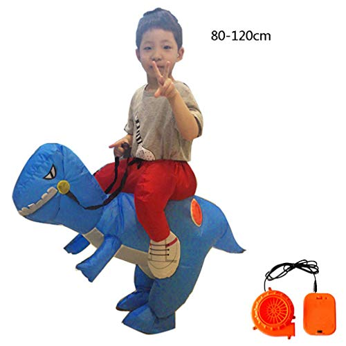 LXLTLB Trajes Inflables Halloween Adulto/Niño Inflable Dinosaur Partido Dinosaurio Hinchable Traje Funny Dress,Azul,80~120cm