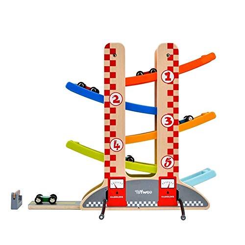 OhLt-j Click Clack Madera Juguetes con 6 Coches de Madera de rampa Racer Juguetes for niños Pista de Carreras de Madera de 1 Muchacha de 2 años Boy
