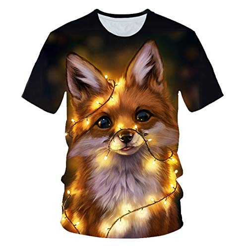 LKFTH 3D Print T Shirts Men Women Summer Harajuku Clothing Hip Hop Fashion Tees Tops Cute Animal Graphic T-Shirt L Yellow