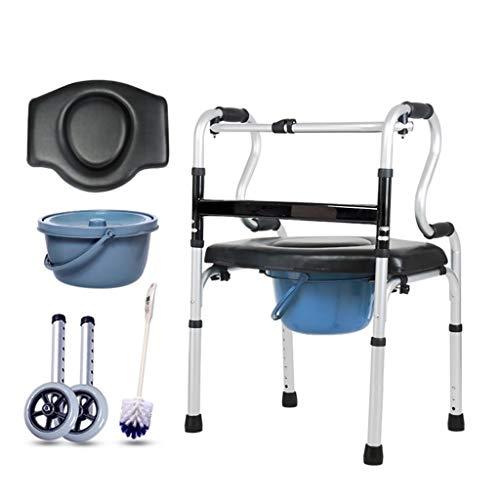 CHenXy Elderly Walker, Aluminiumlegierung mit zusammenklappbarem Toilettensitz und Aufbewahrungstasche for ältere Menschen zur Unterstützung des Gehens, maximale Zuladung 180 kg medizinische Walker