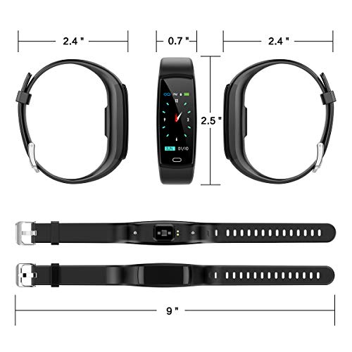 Mgaolo Fitness Tracker HR,Activity Tracker Waterproof Smart Watch Wristband with Heart Rate Blood Pressure Sleep Monitor Pedometer Calorie Step Counter for Android and iPhone (Black)