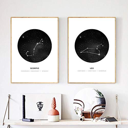 Poster prints astrologie teken sterrenbeeld kwekerij muur canvas minimalistisch geometrisch schilderij nordic kinderen decoratie foto's, 40x60cmx2pcs geen frame