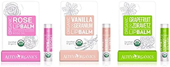 Alteya USDA Organic Lip Balm - 3 Pack Assorted Flavors - Rose, Vanilla, Grapefruit Oil - 0.52oz/15g, 3 x 0.17oz/5g each