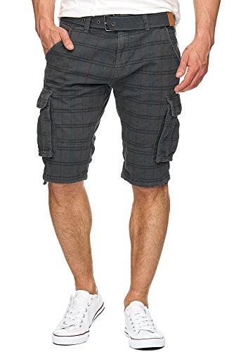 Indicode Herren Monroe Check Cargo Shorts kariert mit 6 Taschen inkl. Gürtel aus 100% Baumwolle | Kurze Hose Bermuda Sommer Herrenshorts Short Men Pants Cargohose kurz f. Männer Iron M