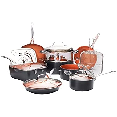 Gotham Steel Ultimate 15 Piece All in One Chef's Kitchen Set with Non-Stick Ti-Cerama Copper Coating – Includes Skillets, Fry Pans, Stock Pots, Deep Square Pan with Fry Basket and Shallow Square Pan