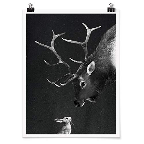 Bilderwelten Poster Illustration Hirsch und Hase Schwarz Weiß Malerei Selbstklebend 60 x 45cm