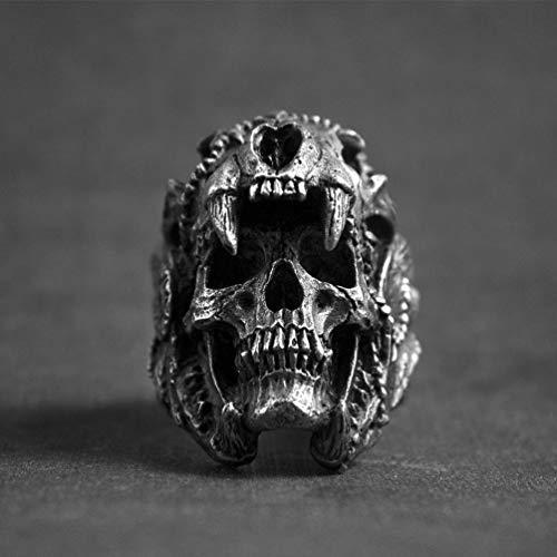 HQLCX Enfriar Anillo del Cráneo de Los Hombres de Acero Gótico del Motorista de La Vendimia India Jaguar Joyería del Guerrero del Cráneo del Punk Anillo Regalo para Él,11