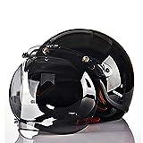 GYFY Motorcycle Helmet Fashion Retro Carbon Fiber Half Helmet DOT Safety Certification with Bubble Mirror (Black),XL