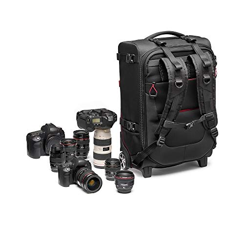 Manfrotto Switch-55 Pro Light Convertible Rolling Camera Backpack, Camera Roller Bag 2 in 1, Backpack for Camcorders, Professional Reflex, Holds up to 2 Camera Bodies and Lenses, Pocket for 17' PC