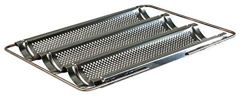 Lares - Baguette-Backblech aus Edelstahl mit ausziehbaren Bügeln - für Baguettes oder Brötchen - Maße: 33 x 43 x 4cm - Made in Germany